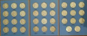 1948-1963 Complete 35 Coin Franklin Half Complete Set! Fine to AU! ALL 90% SILV
