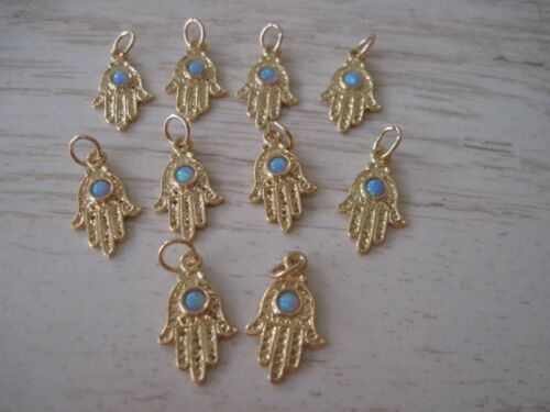 10 Gold Plated Hamsa Hand with Opal Pendants Wholesale for Bracelets /& Necklaces