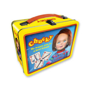 CHUCKY-Child-039-s-Play-Large-Embossed-Tin-Tote-Metal-Lunch-Box-Halloween-Horror
