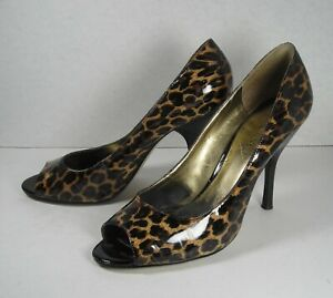 c52f7572f31c Nine West Leopard Print High Heels Women's Size 7 M Open Toe Glossy ...