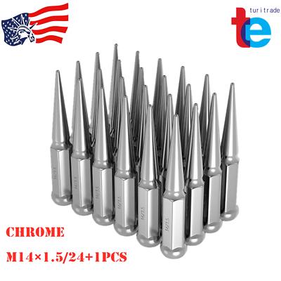 """24pcs Black Spike Lug Nuts M14x1.5 For Chevy Silverado Tahoe 4.4/"""" Tall w// Key"""