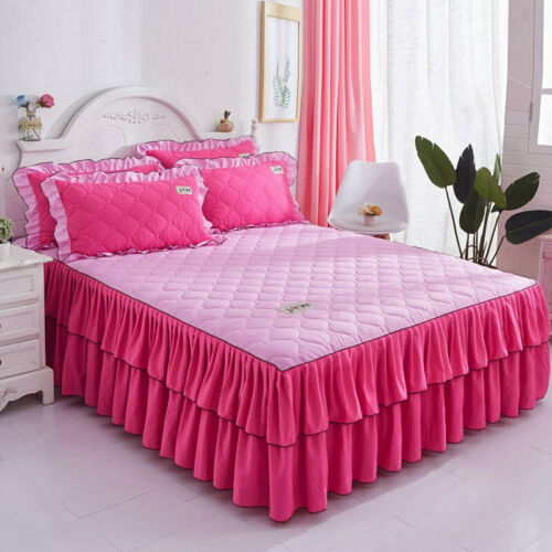 Plain Brushed Thick Bed Skirts Quilted Bedspreads Full Queen King Pillow Cases