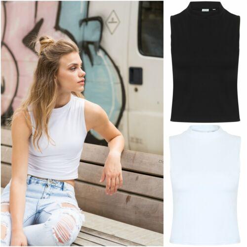 Womens High Neck Crop Top Vest Sleeveless Cotton Elastane Stretch Ladies Cropped