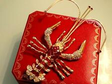 """DRAMATIC VTG DESIGNER COUTURE 6"""" MASSIVE RUBY JEWELED LOBSTER RUNWAY BROOCH PIN"""