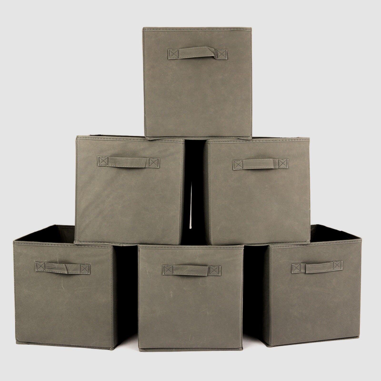 4x Pieghevole Tela Stoccaggio Pieghevole Scatola cubo in tessuto panno Cesto Grigio