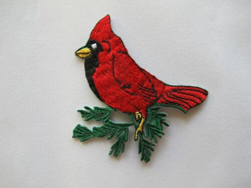 #4511 Large,Medium,Small Size Cardinal Bird On Branch Embroidery Applique Patch