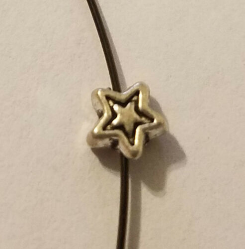 50 pcs Tiny Star Shaped Silver Pewter Metal Beads Charms for Crafts Jewelry