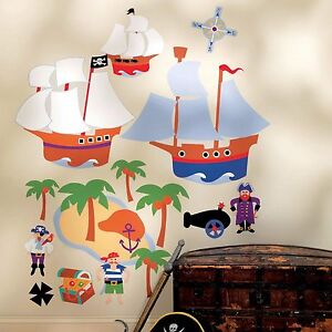 Wandsticker Wandbild Piraten Kinderzimmer Junge vorgeleimt ...