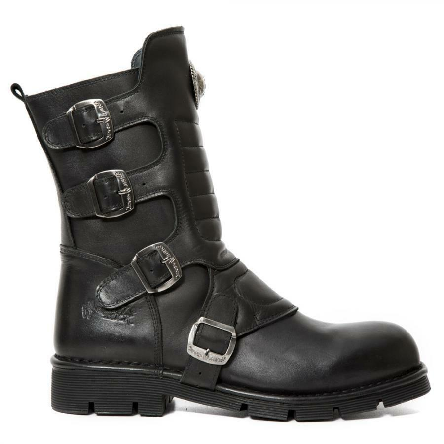 Bota PIEL NEW ROCK Negro Black leather boot Unisex M.373X-S10