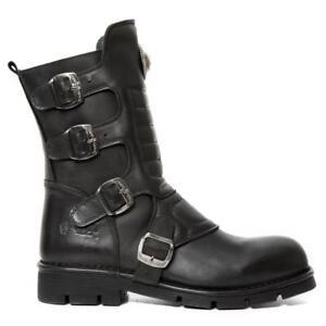 Bota PIEL NEW ROCK Negro Black leather boot Unisex M.373X-S10