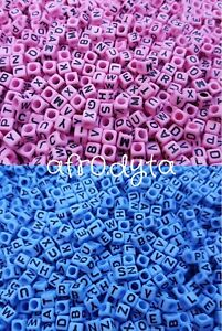 3-FOR-2-100-Opaque-PINK-or-BLUE-Alphabet-Mixed-Letter-Cube-Pony-Beads-6mm