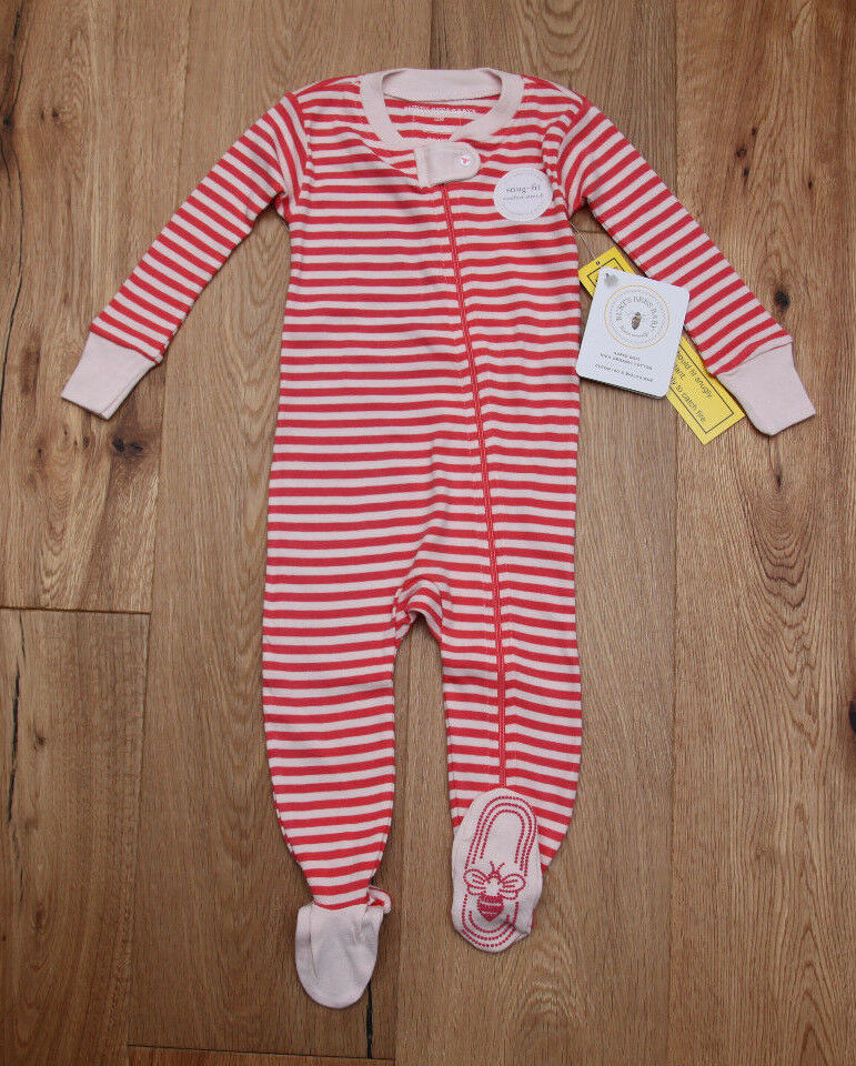 Burt/'s Bees Baby Girl Zip Up Coverall ~ Pink /& White ~ Snug-Fit ~ Dew Drops ~