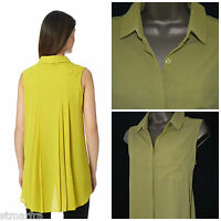 NEW BETTY JACKSON BLACK TUNIC BLOUSE SHIRT TOP LIME MUSTARD PLEATED 10 - 20