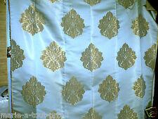 Tissu de déco ameublement haut de gamme bleu + dorures fleurs dorées 115 x 140cm