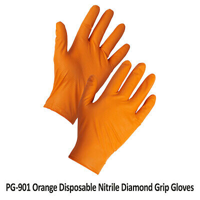 Disposable Heavy Duty Nitrile Gloves Orange Latex Free