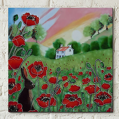 """Poppy Meadow Hare Sunset Ceramic Picture Tile Wall Art Plaque Kitchen 8x8"""" 05297"""