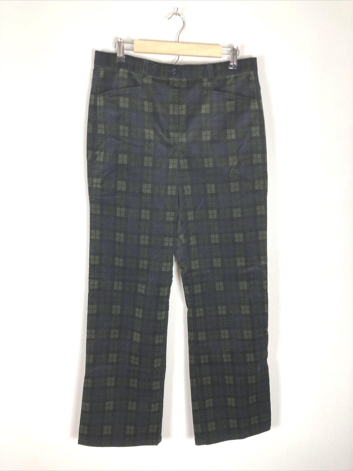 Orvis Blue Green Plaid Soft Corduroy Pants, Size … - image 1