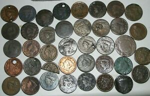 Braided-Hair-Coronet-Head-Large-Cent-Penny-LARGE-Lot-Damaged-Lot