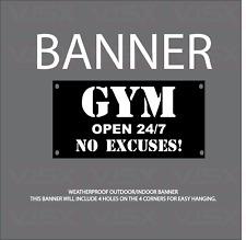 Gym Open 247 No Excuses Vinyl Banner Flag Outdoor Indoor Sign Lift Muscle