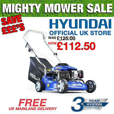 "Hyundai Petrol Push Lawnmower 40cm 16"" inch Cut Lightweight Lawn Mower HYM400P"