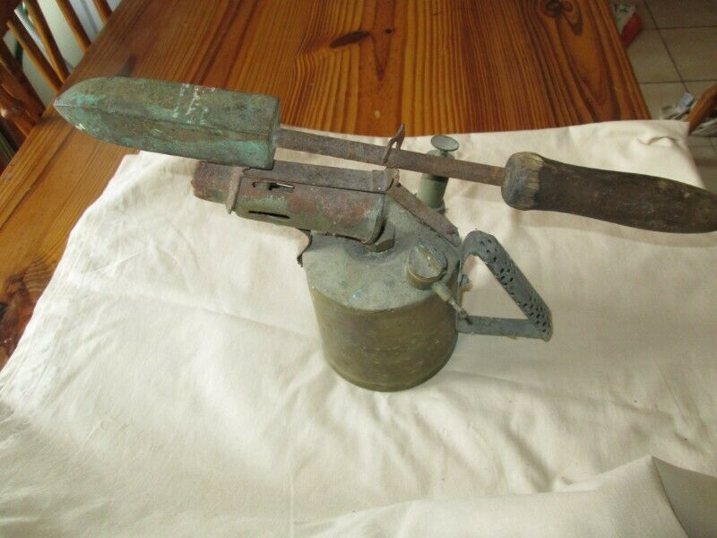 OLD PARAFFIN BLOWLAMP WITH SOLDERING IRON