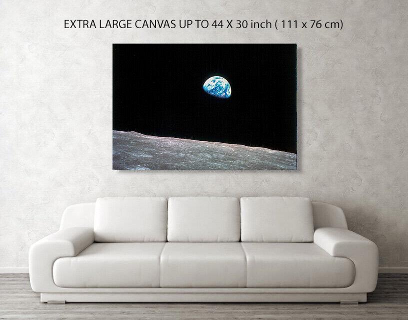 NASA Earth Rise from Apollo 8  Canvas Box Art  Photo Print A4-A0