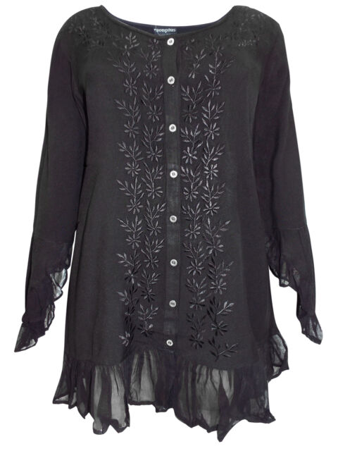 eaonplus BLACK Enchanted Pixie GOTH Embroidered Blouse Plus Size 18/20 to 30/32