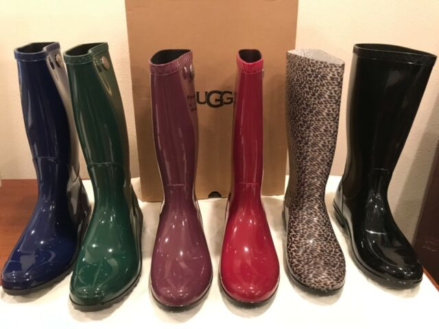 order a great variety of models 2019 best sell UGG Australia Women's 8 Shaye Glossy Blue Jay Rubber Rain BOOTS 1012350