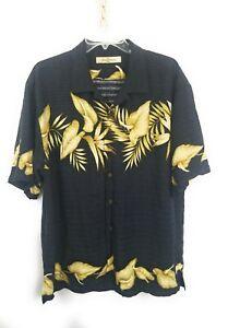 Tommy-Bahama-Men-s-Large-Hawaiian-Floral-Palm-Shirt-Black-100-Silk