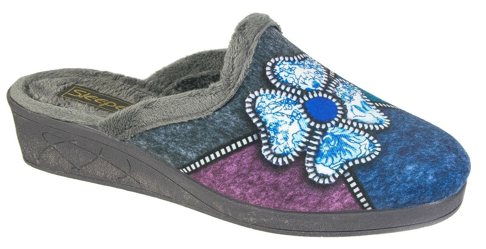 Womens Ladies Mule Slippers / Grey Blue Multi Velour Flower Slip On Sleepers