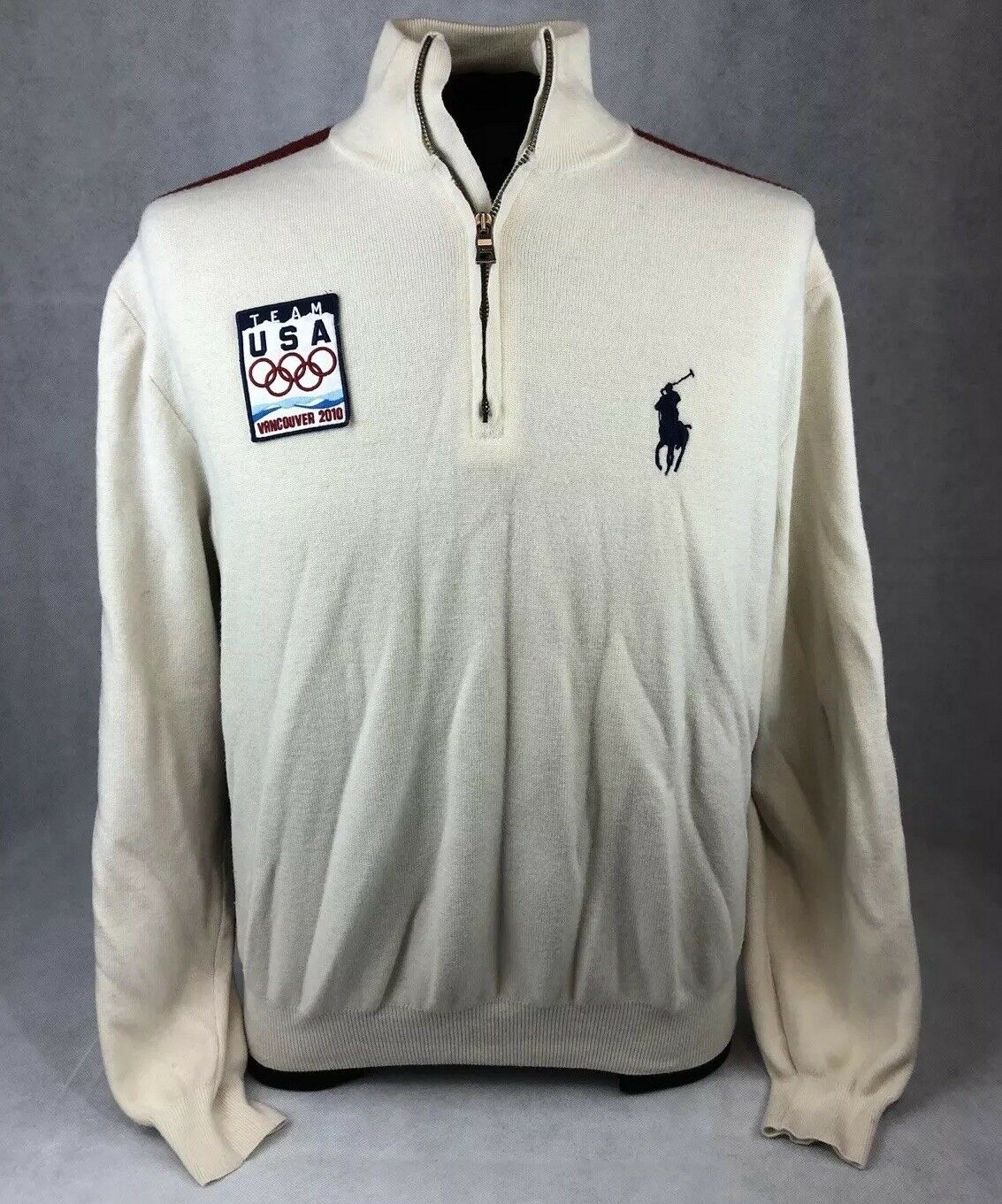 Polo Ralph Lauren Big Pony Team USA Vancouver 2010 Olympics Wool 1 4 Zip Sweater