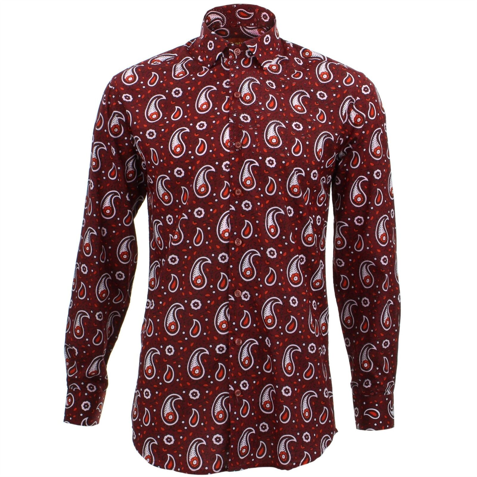Mens Shirt Loud Originals TAILORED FIT Paisley Maroon Retro Psychedelic Fancy