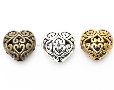 20pcs Antique Silver/Golden/Bronze Color Metal Heart Hollow Spacer Beads 14mm
