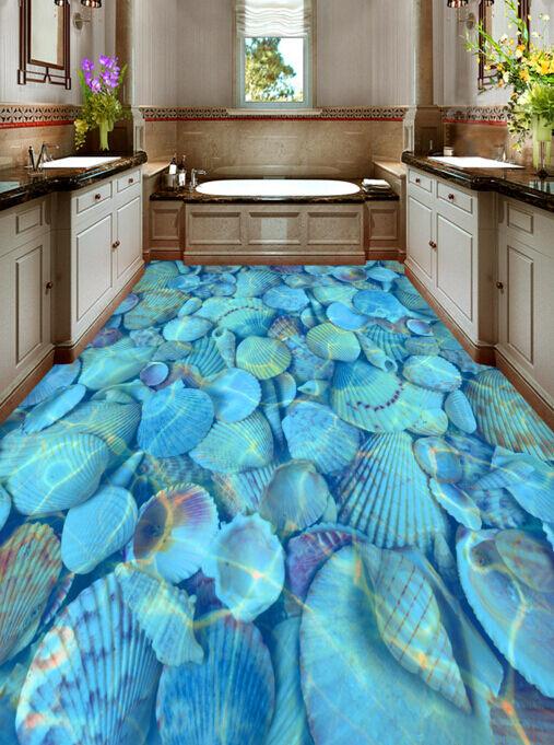 Bonito Azul Conchas 3D 8 Impresión De Parojo Murales Papel de parojo de piso AJ Wallpaper Reino Unido Limón