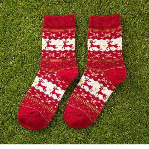 Lot Women Winter Socks Christmas Gift Warm Wool Sock Snowflake Deer 5Color
