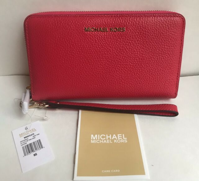 1189f06d0bc9 Michael Kors Mercer Large Flat Multi Function Phone Case In Deep Pink $108