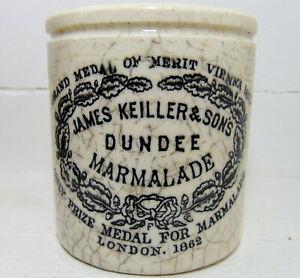 Victorian James Keiller Dundee Marmalade Jar with Maling Base Stamp c1890's