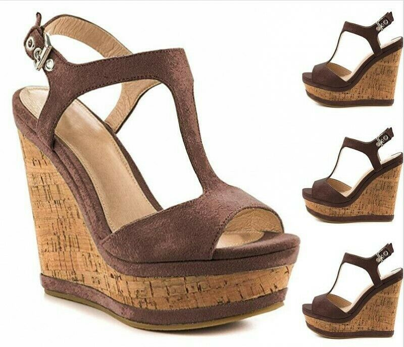 Femme Plateforme Bout Ouvert Talon Haut Sandales Chaussures D'été Vintage Marron US9