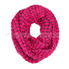 Stripped Knit Infinity Winter Scarf Elastic Warm Black White String Circle Loop