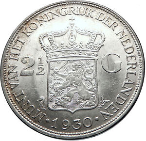 1930-Netherlands-Queen-WILHELMINA-2-5-Gulden-Authentic-DUTCH-Silver-Coin-i71864