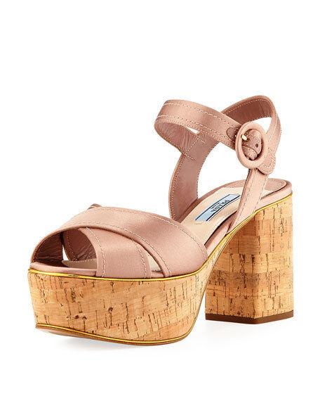 Prada Satin Crisscross Platform Sandal, Neutral MSRP  730 Size 38.5