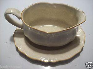 Vintage Retro Ironstone Sunrise Gravy Boat Plate Set Bowl Dish Tan Gold Japan