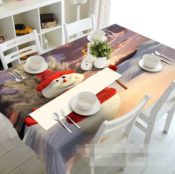 3D Snowman 80 Tablecloth Table Cover Cloth Birthday Party Event AJ WALLPAPER AU