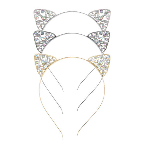 Novelty Girls Metal Rhinestone Cat Ear Headband Hair band Costume Party Cosplay