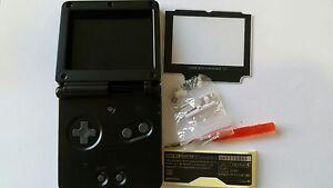 à Condition De Étui Complet + Ecran Compatible Game Boy Advance Sp Noir Nouveau / Neuf