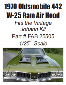 W-25 Ram Air Hood for Johan 1970 Olds 442 1/25th Scale FAB Resinworks #25505