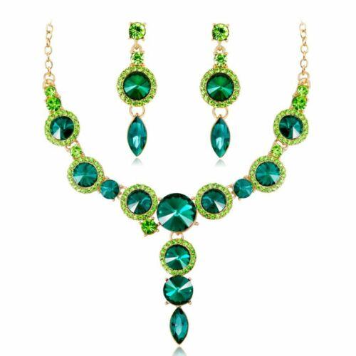 Fashion Wedding Bridal Party Jewelry Set Crystal Rhinestone Necklace Earrings