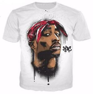 New-Fashion-Women-Mens-Rapper-2pac-Tupac-3D-Print-Casual-T-Shirt-XU155