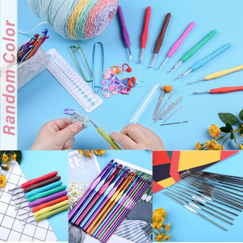 Aluminum Crochet Hooks Needles Knit Set Weave Craft Yarn Sewing Knitting Tools