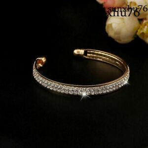 New-Women-Fashion-Style-Gold-Crystal-Rhinestone-Bangle-Cuff-Bracelet-Jewelry